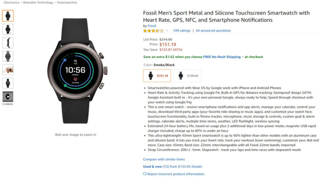 fossil sport amazon deal