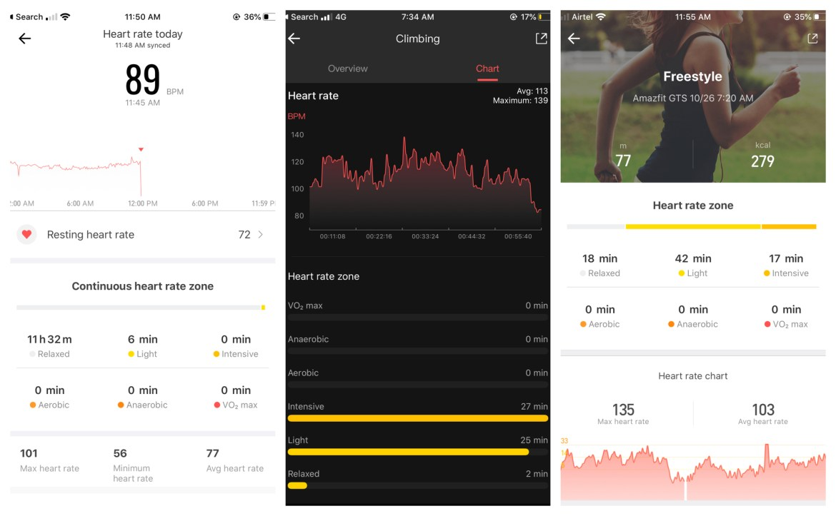 Amazfit GTS heart rate monitoring on app