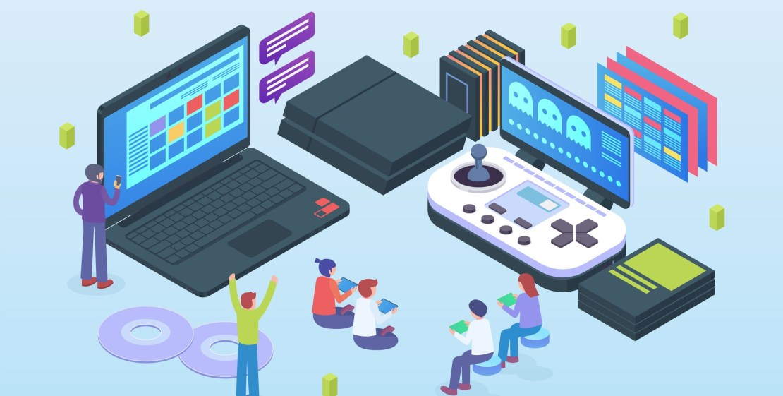 Game design and development vector iso