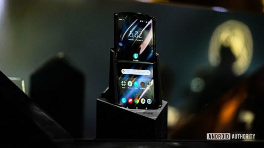 Moto Razr foldable unfolded sitting in box speaker