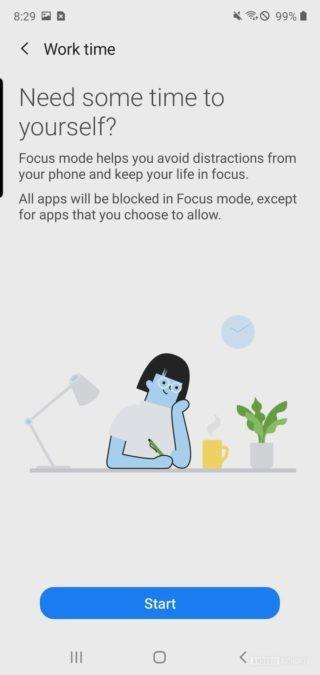 Цифровое благополучие Samsung One UI 2: рабочее время