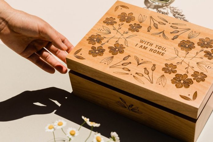 Personalized wooden box from Etsy