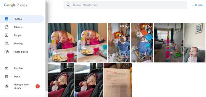 Papelera de Google Photos