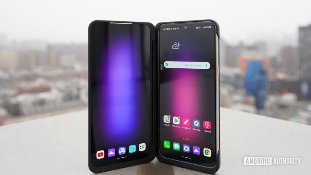 LG V60 ThinQ 5G standing dual dusplay