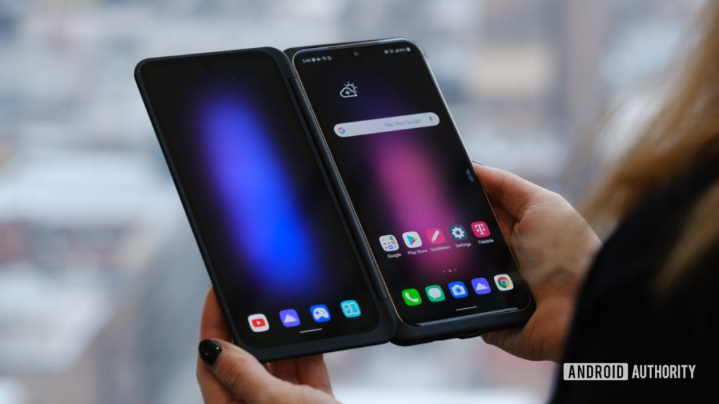 LG V60 second display open in hand from front 1