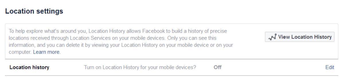 Настройки конфиденциальности местоположения Facebook
