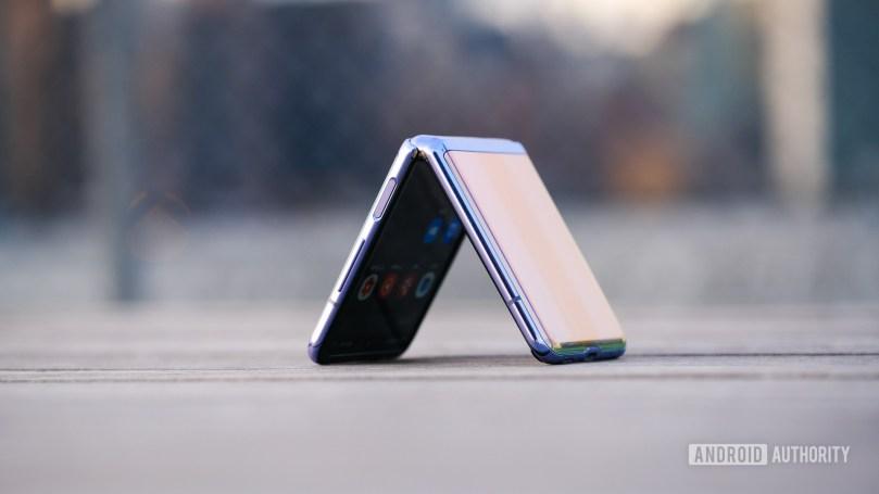Samsung Galaxy Z Flip triangle folded on bench 1