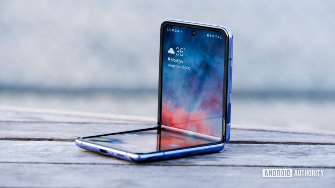 Samsung Galaxy Z Flip unfolded sitting up