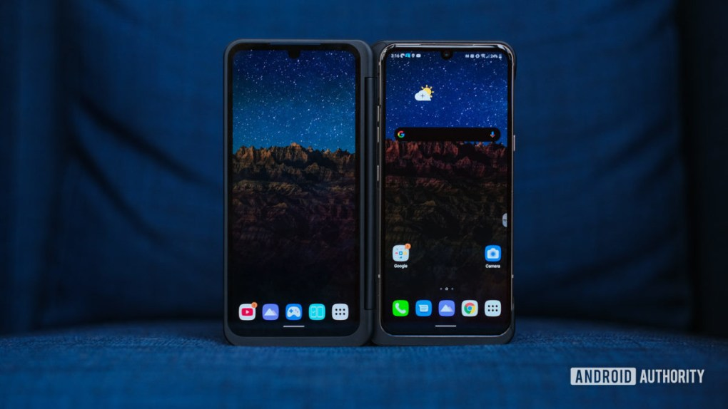 LG V60 dual screen open on chair 2