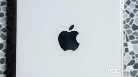 Close up Apple logo on iPhone