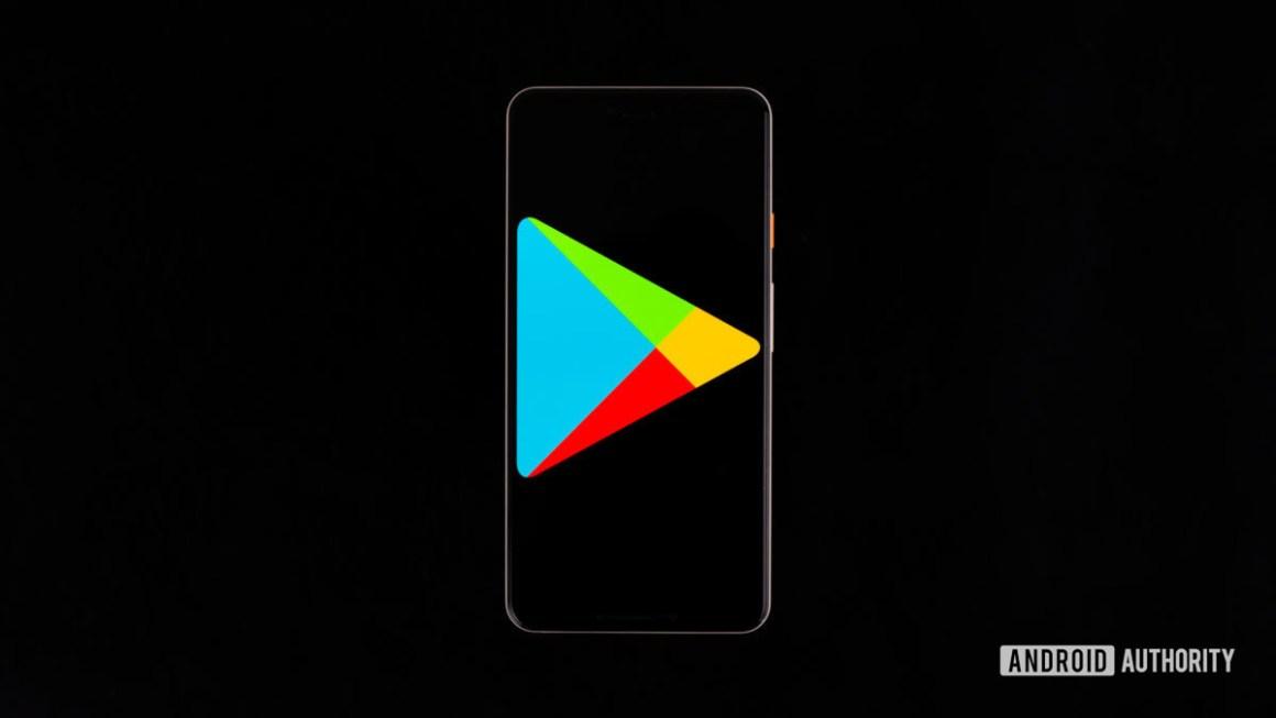 Магазин Google Play на смартфоне stock photo 1