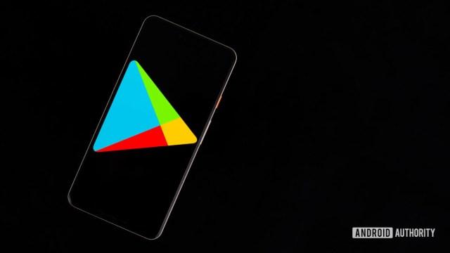 Google Play Store on smartphone stock photo 2