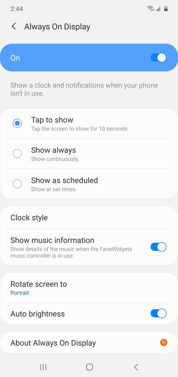 One UI Ambient Display Settings