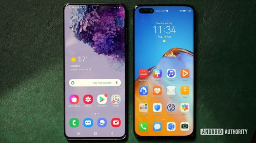 Samsung Galaxy S20 vs Huawei P40 Pro front
