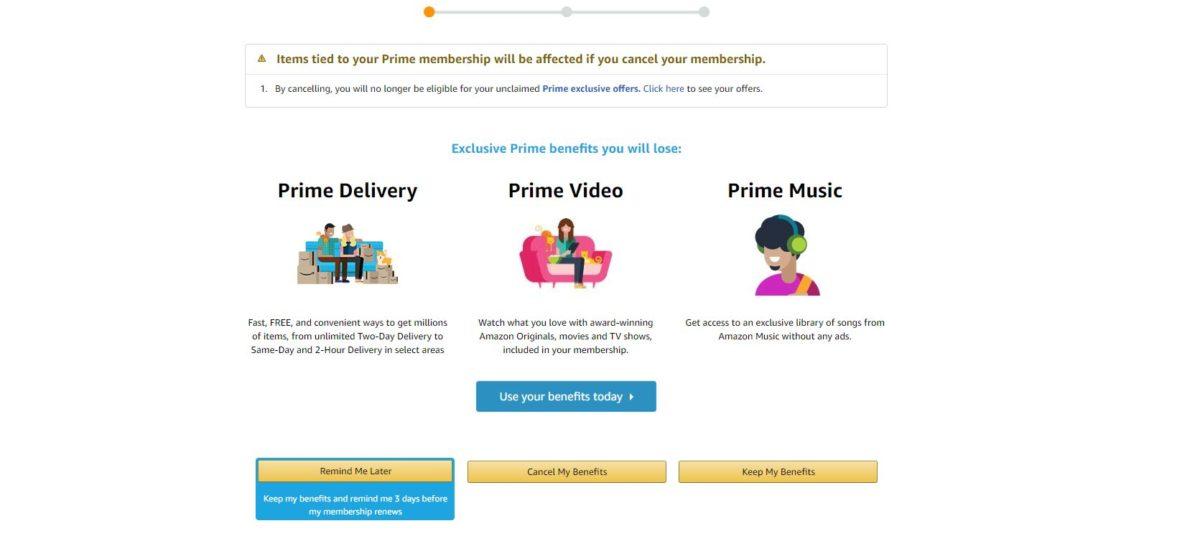 экран отмены членства в amazon Prime