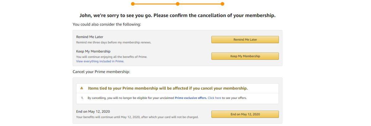 экран отмены членства в Amazon Prime 3