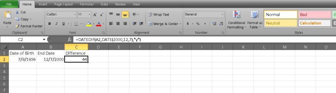 рассчитать возраст в Excel 3