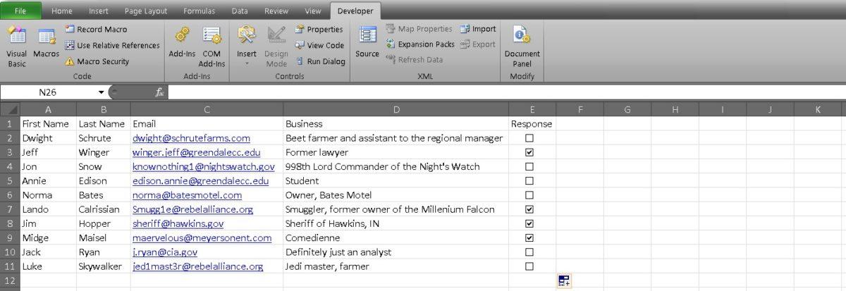 флажок Excel 7