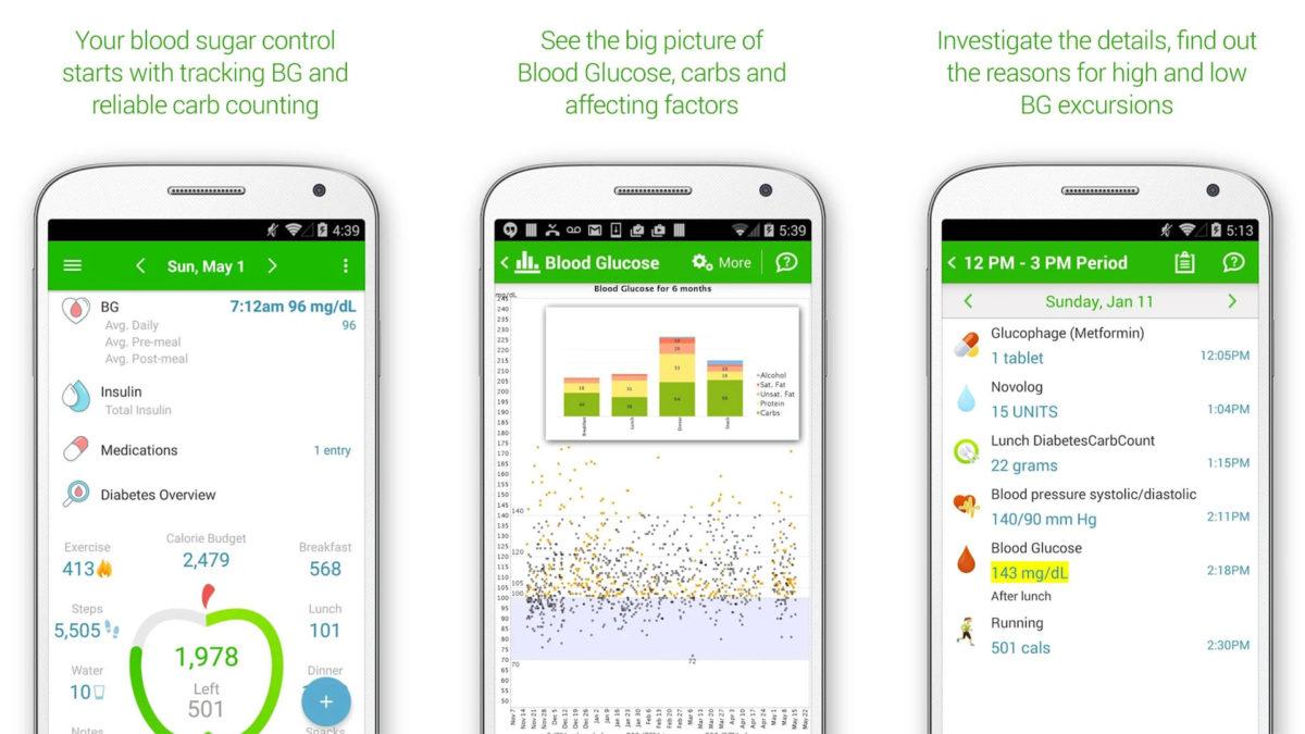 Снимок экрана MyNetDiary по диабету и диете