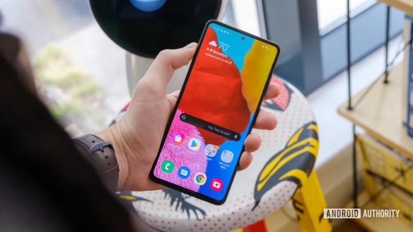 Samsung Galaxy A51 screen in hand