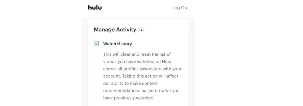 hulu mobile удалить историю просмотров