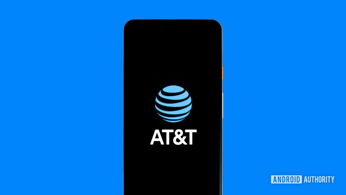 Логотип ATT на телефоне stock photo