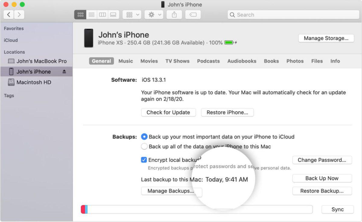 Резервное копирование iPhone SE на Mac OS Catalina