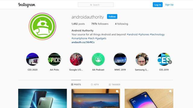 Instagram web arayüzü