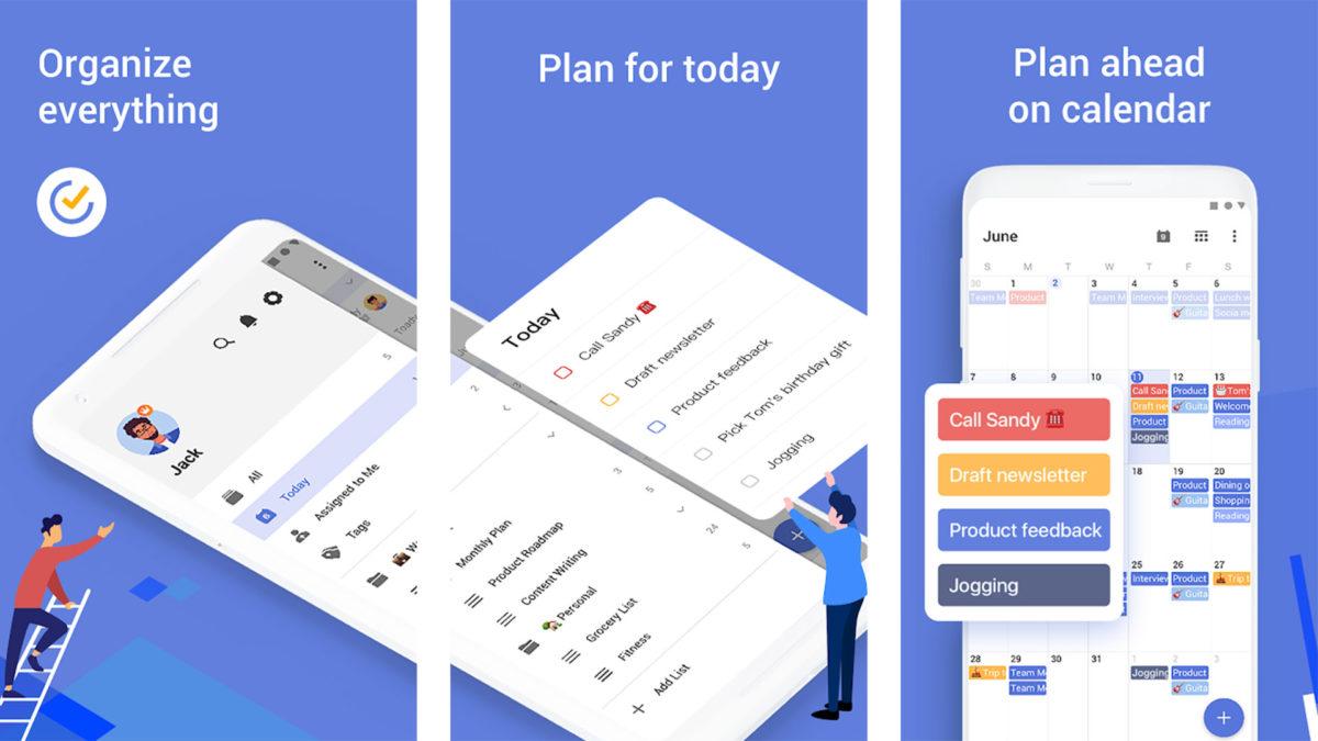 Captura de tela do TickTick 2020