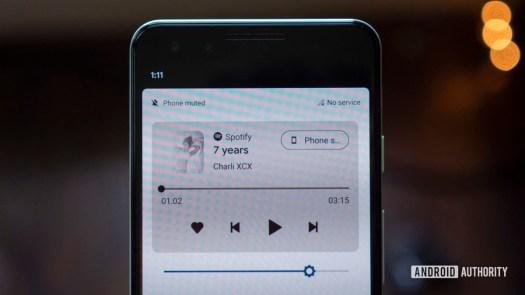 android 11 beta media playback controls notification shade close up pixel 3