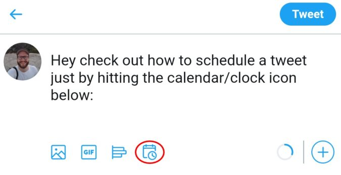 запланировать твит через приложение Twitter 2
