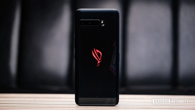 Asus ROG Phone 3 back up on table