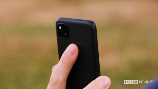 Google Pixel 4a pressing fingerprint reader