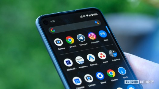 Google Pixel 4a upper half of display with apps