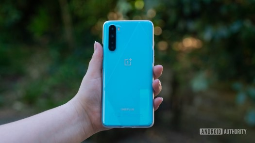 OnePlus Nord Holding the device out in the hand within the case
