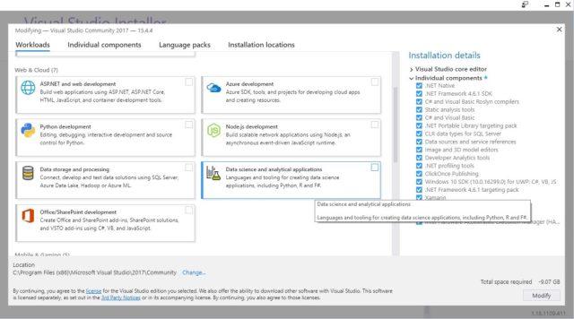 Install Python with Visual Studio