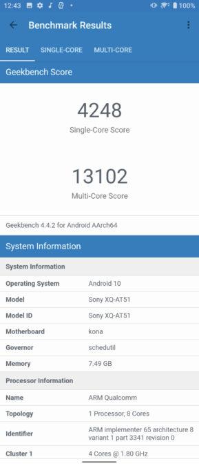 Sony Xperia 1 II Geekbench 4 балла