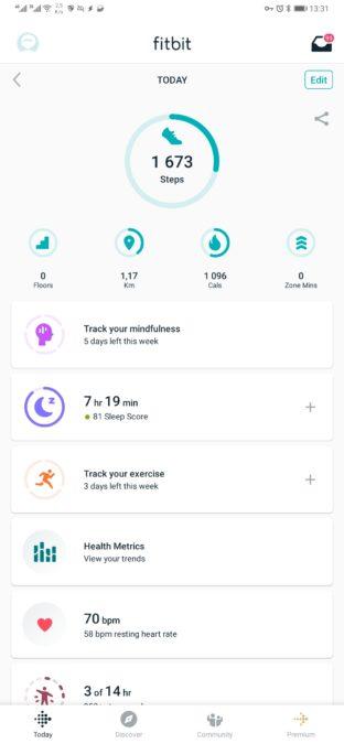 статистика приложения fitbit