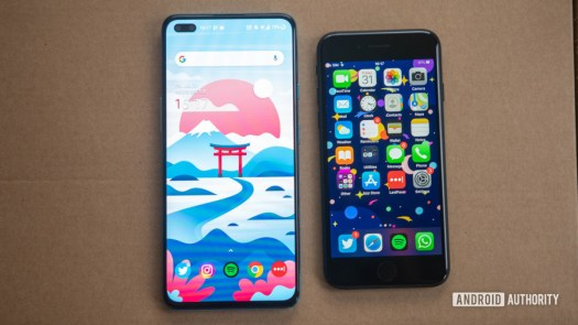 iPhone SE vs OnePlus Nord both displays on a flat surface