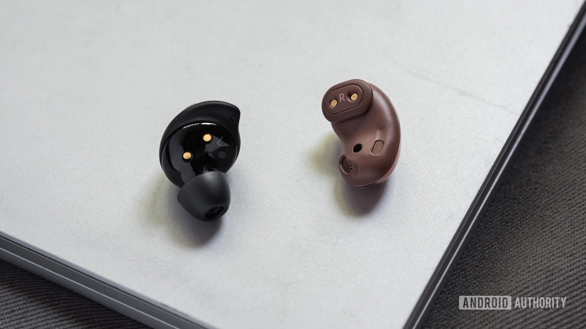 Uma imagem do Samsung Galaxy Buds Plus vs Samsung Galaxy Buds Live comparação das pontas das asas dos verdadeiros fones de ouvido sem fio.