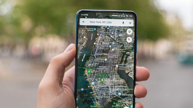 Карты Google на Android с изображением Нью-Йорка