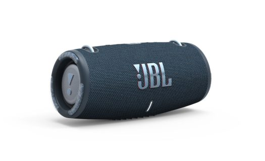 A product render of the jbl xtreme 3 water and dust-resistant speaker in navy against a white background.