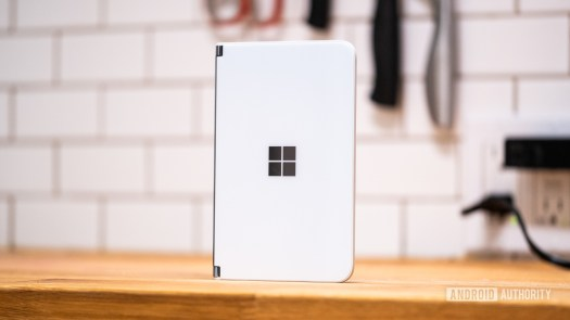 Microsoft Surface Duo standing straight up on counter