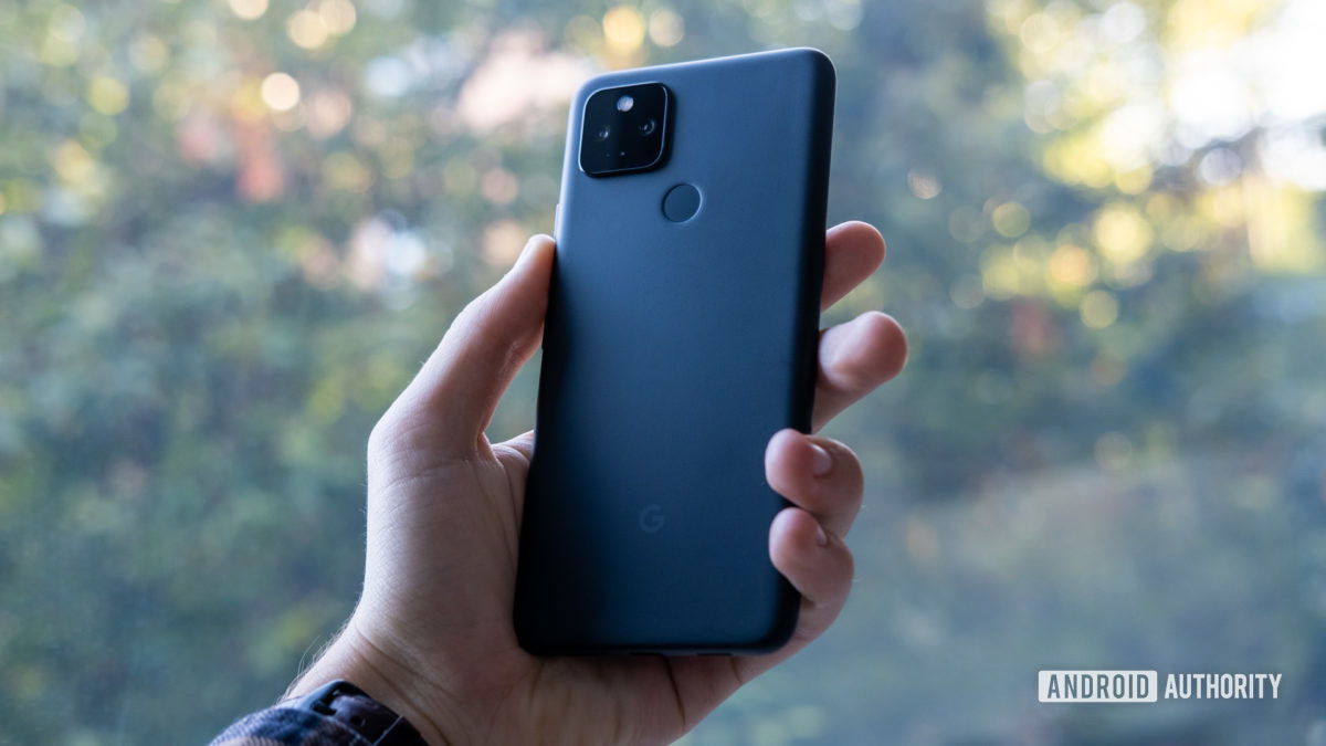 Google Pixel 4a 5G in hand back of phone