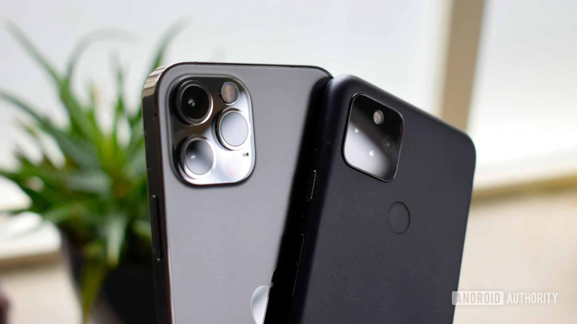 Google Pixel 5 vs Apple iPhone 12 Pro cameras side by side.