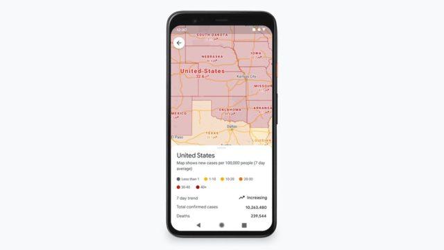 Google Maps Covid 19 слой