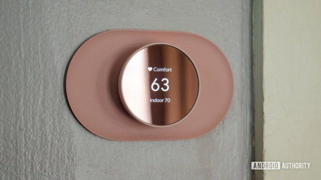 google nest thermostat review display temperature on wall 3