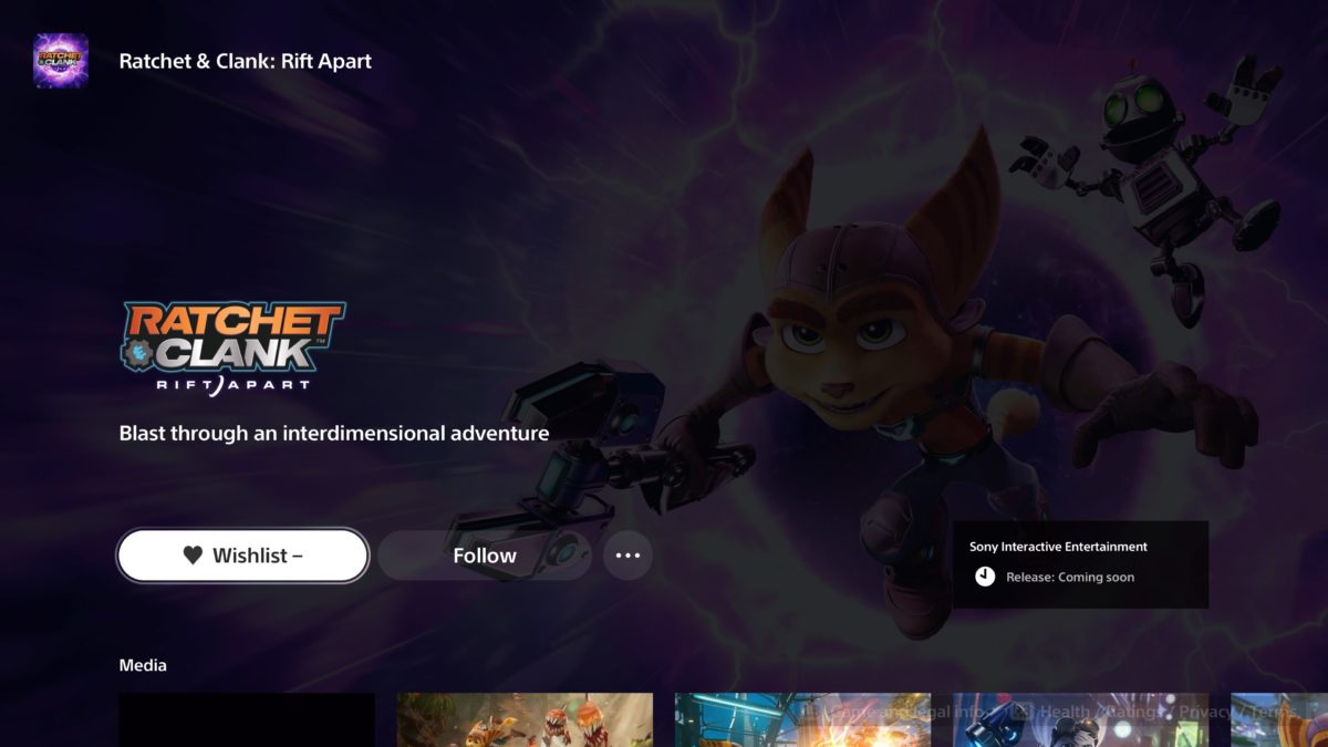 ratchet & clank store page ps5 wishlist