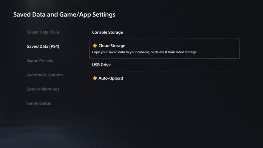saved data and game app settings playstation 5