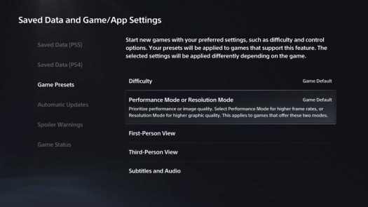 game presets settings ps5